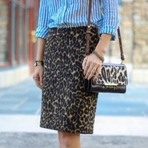 Talbots Animal Cheetah Print Pencil Midi Skirt 12P